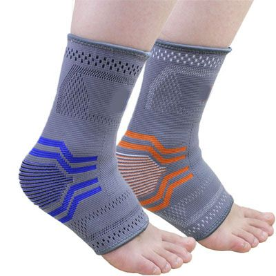 Soft Orange Comfortable Foot Sleeve Ankle Support For Sports